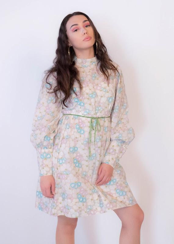 60s Bishop Sleeve Floral Mod Dress size M/L - image 5