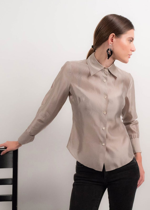 Silver METALLIC Silk Blouse. 90s Silk Blouse. Min… - image 7