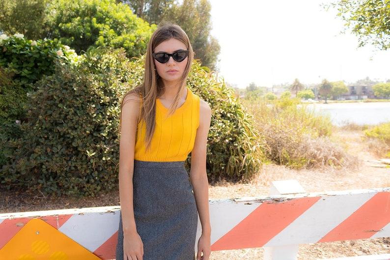 3f990095bda131 60s Mod Ribbed Top   Mustard Yellow Top   Shell Top   Vintage