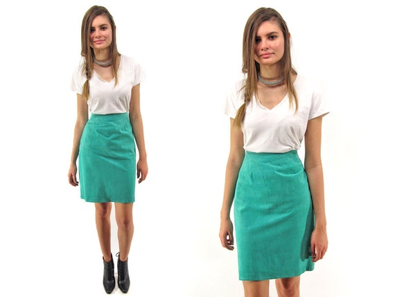 Minimalist 80s Leather Skirt, High-Waist Skirt, Pe