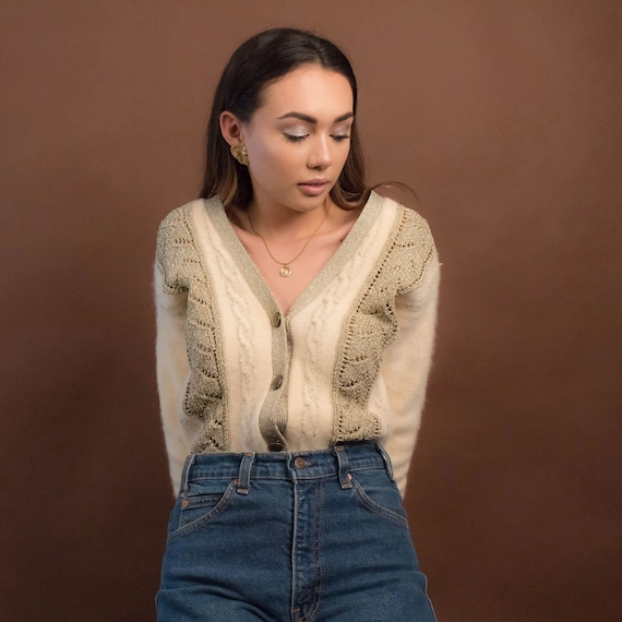 Vintage Angora Sweater. Cable Knit Cardigan. Vinta
