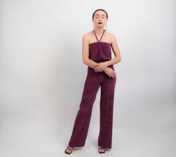 70s Terry-Cloth JUMPSUIT.  Wide-Leg Jumpsuit. 70s… - image 1