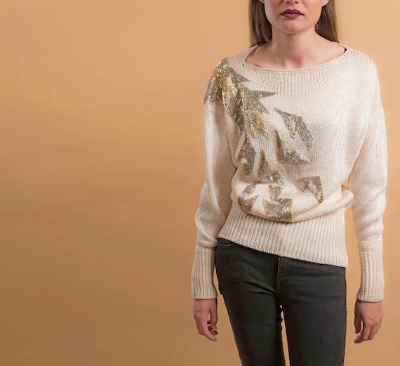 80s Beaded Sweater / Disco Sweater / Vintage 80s S
