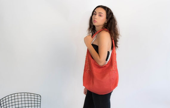 Leather HOBO Purse. Vintage 90s Purse. Y2K Leather