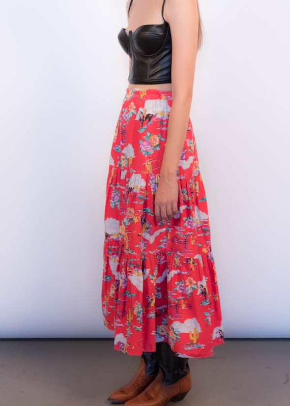 80s Floral Western Tiered Skirt size S/M - image 9