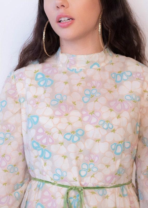 60s Bishop Sleeve Floral Mod Dress size M/L - image 2