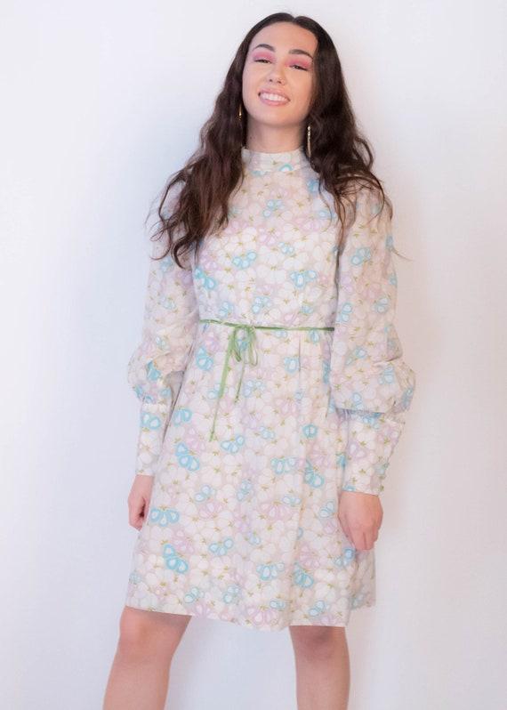60s Bishop Sleeve Floral Mod Dress size M/L - image 7