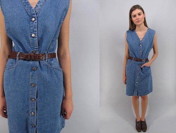 Vintage 90s Denim Dress, Denim Shift Dress, Jean D