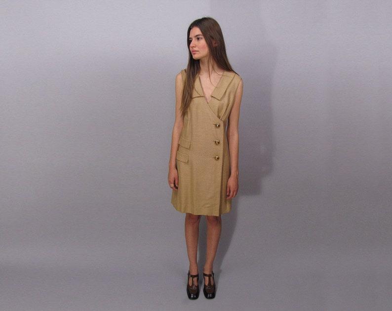 87f04057a0 Vintage 60s Mod Dress Linen Dress Mod Shift Dress Tan