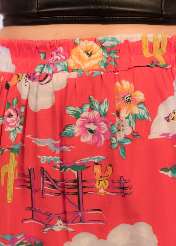 80s Floral Western Tiered Skirt size S/M - image 2