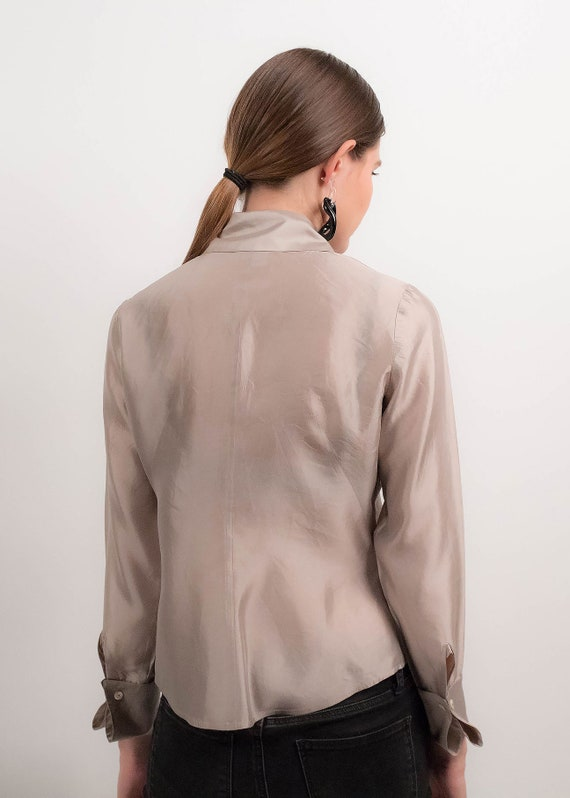 Silver METALLIC Silk Blouse. 90s Silk Blouse. Min… - image 8