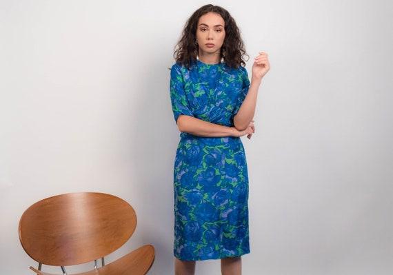 60s Silk FLORAL Dress. Vintage 60s Dress. 60s Wigg