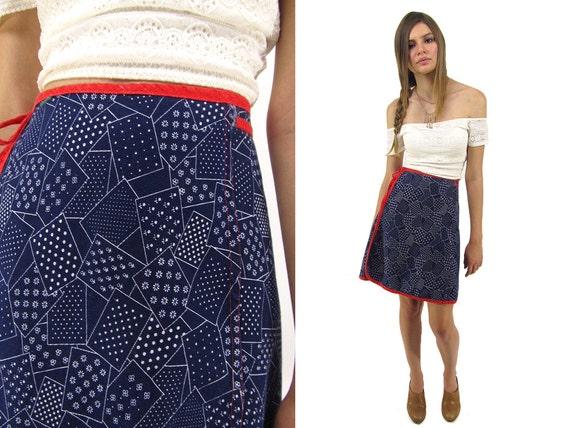 Vintage 70s Wrap Denim Skirt, Abstract Skirt, Jean