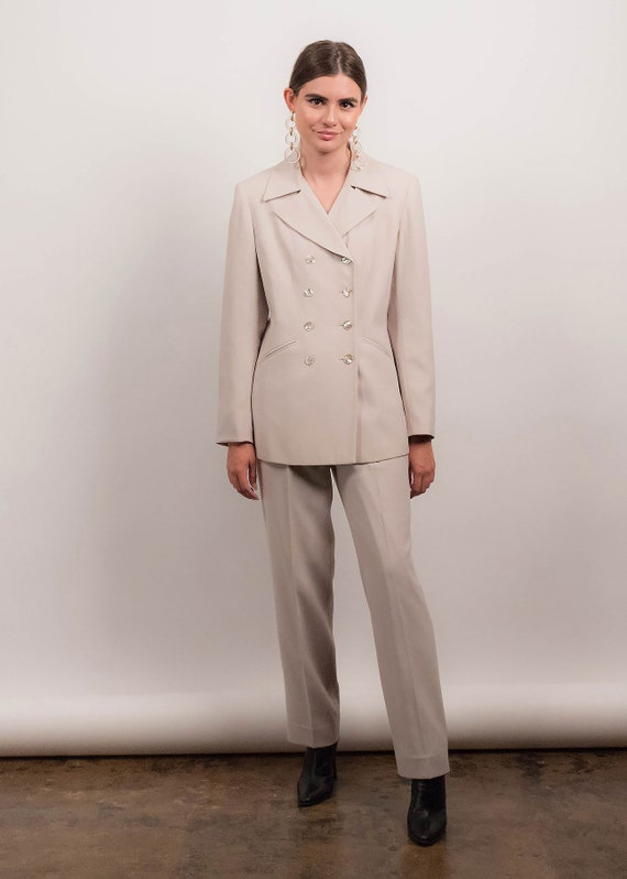 90s MINIMAL Pant Suit. Double-Breasted Pant Suit.… - image 5