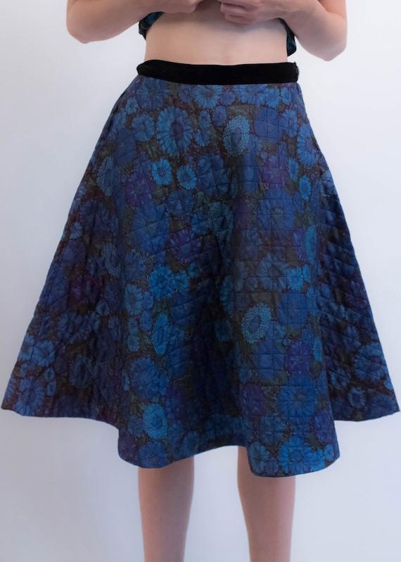 1950s Floral QUILTED Skirt. Vintage 50s Floral 2 … - image 3