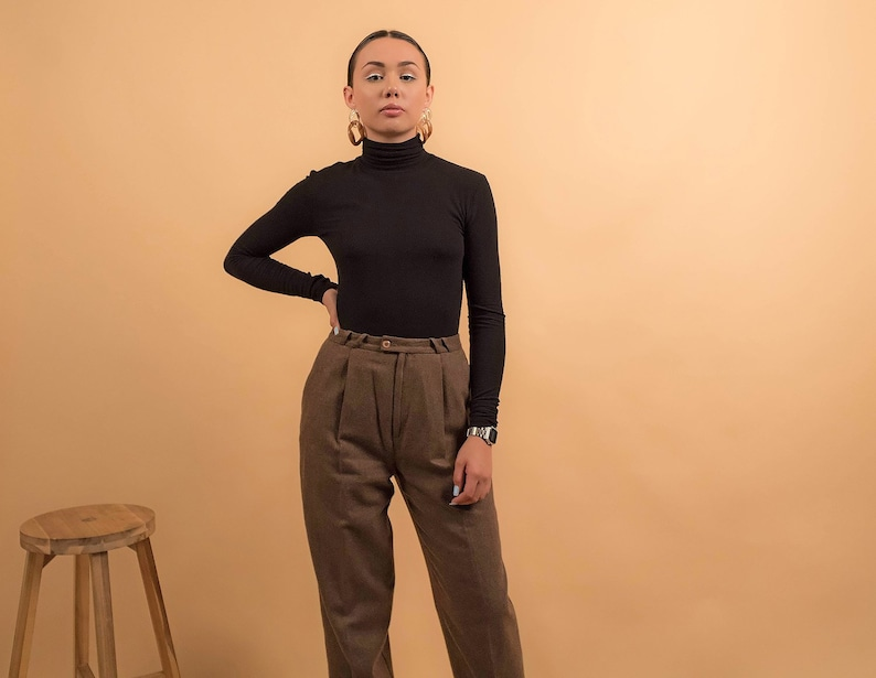 Pleated Herringbone Trousers Mens Wear Trousers Vintage Etsy