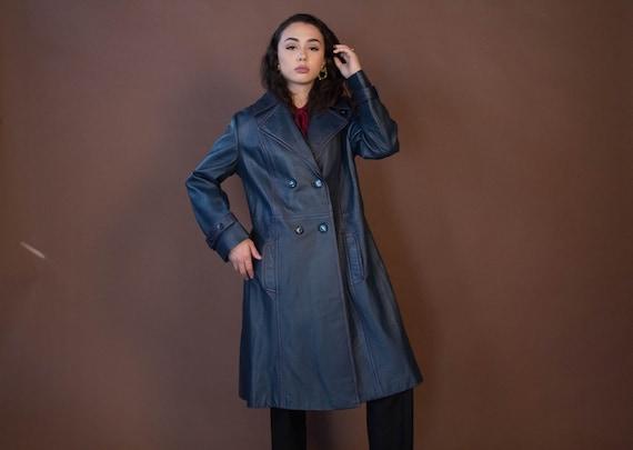 Mod LEATHER Coat. Vintage 70s Leather Coat. Double