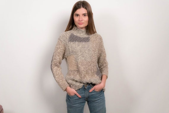 Chunky Knit Patchwork Wool Sweater fits sizes XS/S
