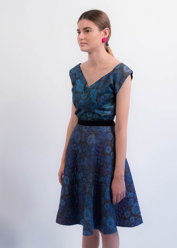 1950s Floral QUILTED Skirt. Vintage 50s Floral 2 … - image 9