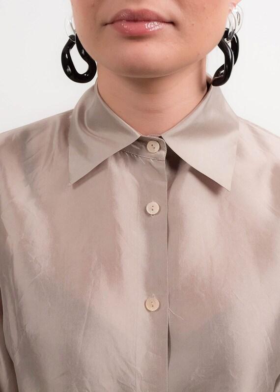 Silver METALLIC Silk Blouse. 90s Silk Blouse. Min… - image 2