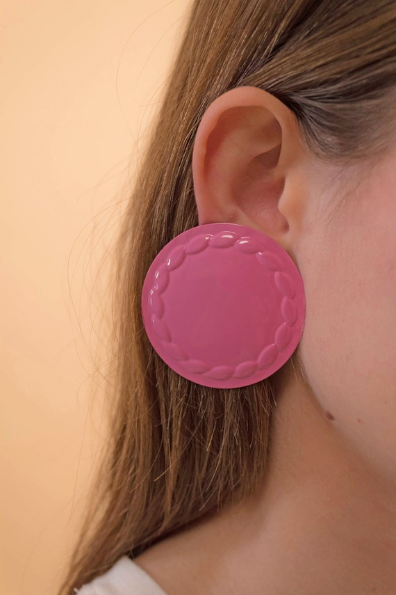 Round Earrings / Oversized Disc Earrings / Vintag… - image 1