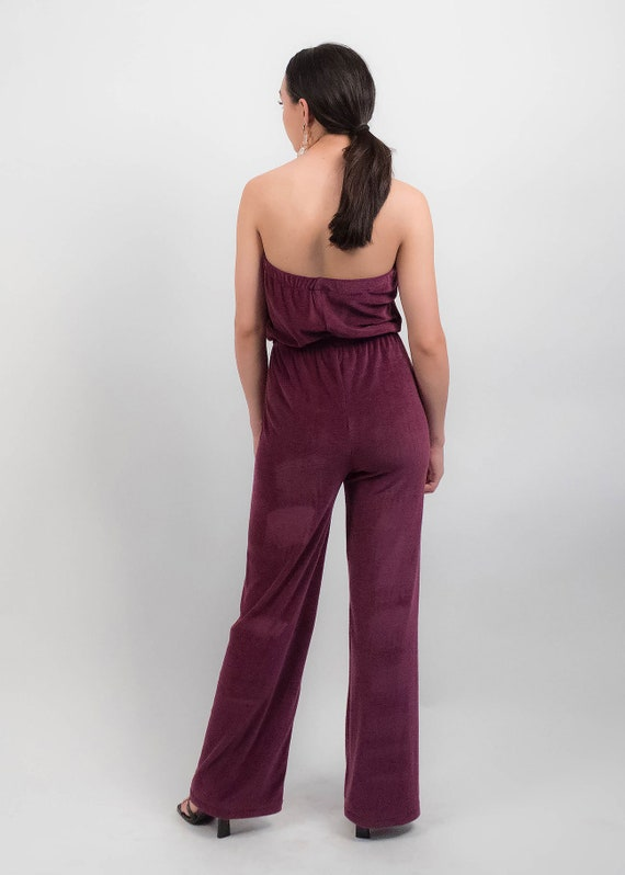 70s Terry-Cloth JUMPSUIT.  Wide-Leg Jumpsuit. 70s… - image 8