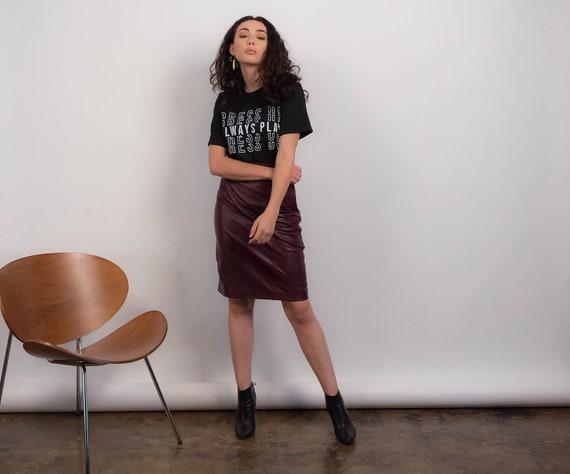 High-Waisted LEATHER Skirt. Vintage 90s Skirt. Bur
