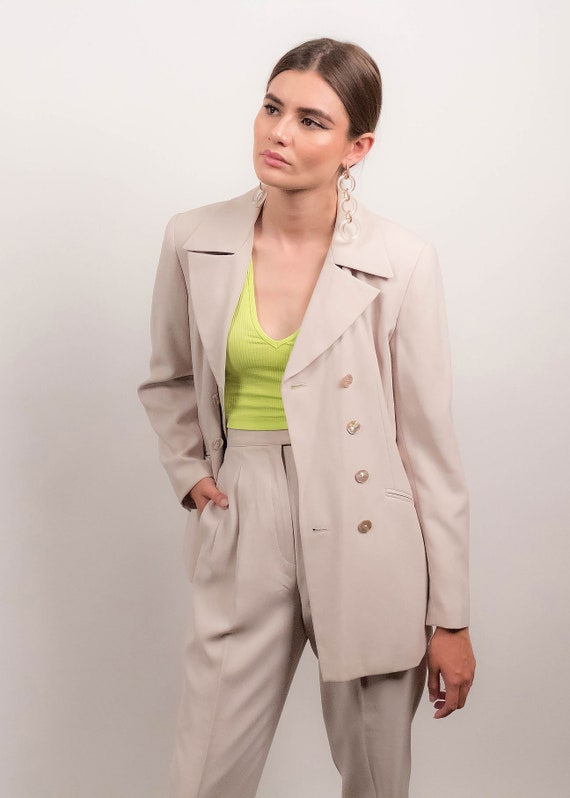 90s MINIMAL Pant Suit. Double-Breasted Pant Suit.… - image 6