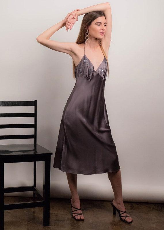 90s SILK Slip Dress. Vintage 90s Dress. Silk Beade