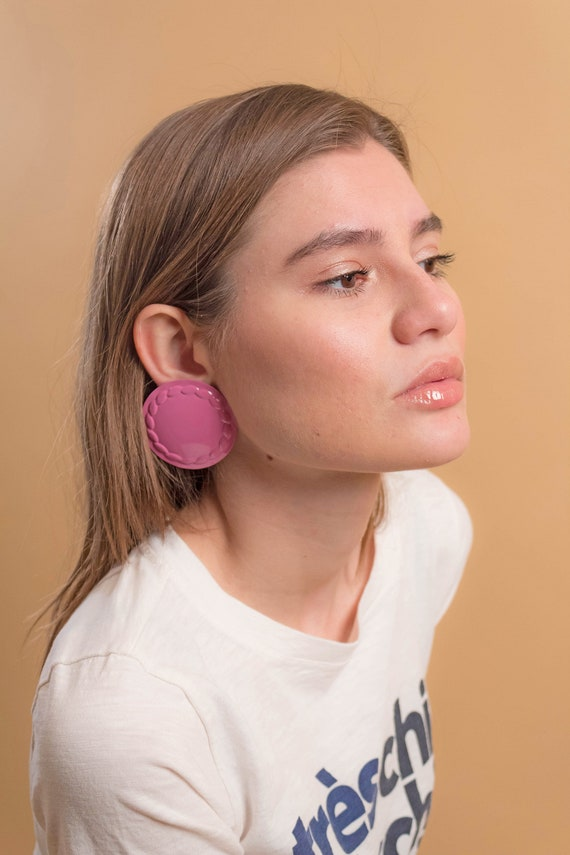 Round Earrings / Oversized Disc Earrings / Vintag… - image 3