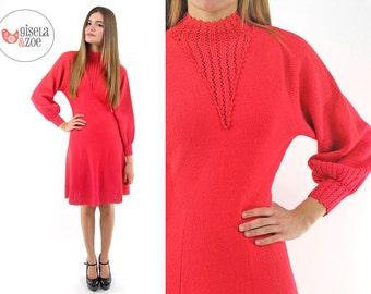70s Knit Dress ΔΔ Bishop Sleeve Dress 70s A-Line Dress ΔΔ xs / sm