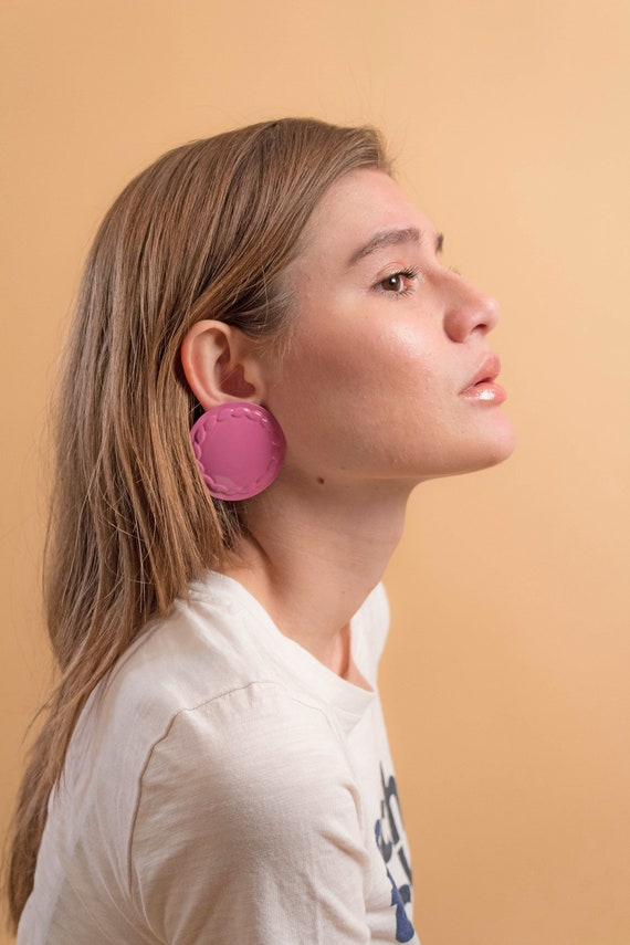 Round Earrings / Oversized Disc Earrings / Vintag… - image 5