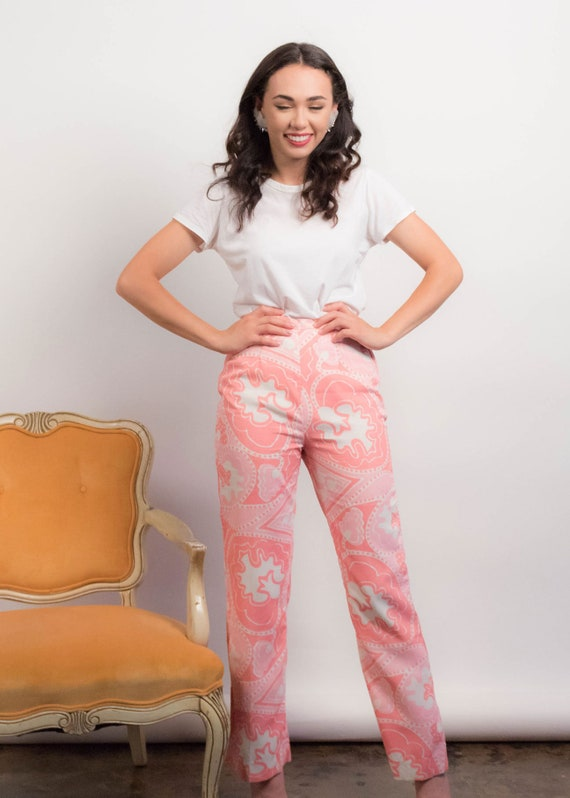 60s PAISLEY Pants. Vintage Wide-Leg Pants. 60s Pr… - image 7