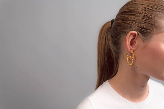 Hoop Earrings / Statement Earrings / 80s Hoop Ear… - image 2