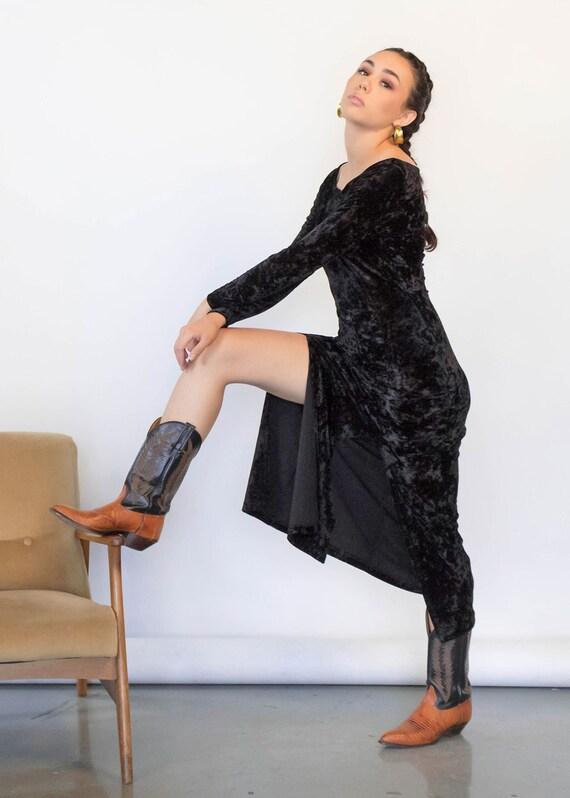 CRUSHED Velvet Maxi Dress. Vintage 90s Dress. 90s… - image 10