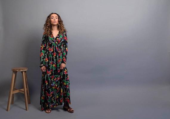 70s Dress / Boho Floral Dress / 70s Maxi Dress / 7