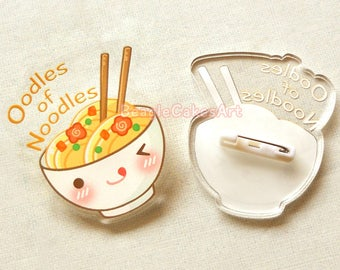 Noodle Pin, Enamel Pin, Food Accessory, Acrylic Pin, Ramen Brooch, Noodle Pins, Ramen Pin, Plastic Pins, Acrylic Charms, Japanese Food Pin