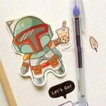 Boba Fett with Boba Tea Sticker. Anime Stickers. Laptop Sticker. Art Stickers. Anime Sticker. Funny Sticker. Humor Sticker. Geek Sticker