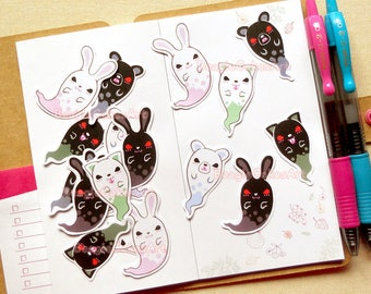 Ghosts Stickers, Halloween Stickers, Planner Stickers, Envelope Seals, Party Favor, Trick or Treat, Scrapbooki Supplies, Treat Bag Stickers