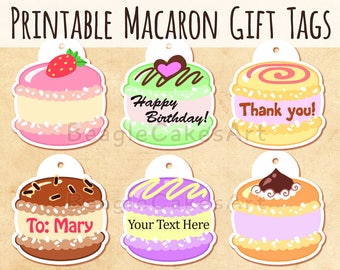 Macaron Tags, Macaroon Tags, Instant Download, Birthday Tags, Bridal Shower Tags, Party Tags, Printable Tags, Personalized Tags, Party Label