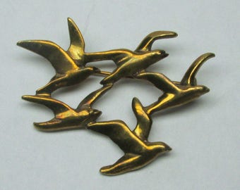 vintage seagulls flying pin / brooch , might be marked sterling ( ??? ) like a Jere wall sculpture as jewelrry