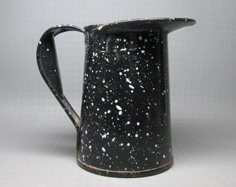 USN United States Navy enamel pitcher , black with white specks , USN in red on the bottom , 1 Qt