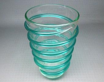 Vintage Blenko spiral vase , clear glass with green spiral ,  pre-designer piece 474
