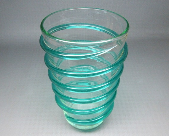 Vintage Blenko Spiral Vase Clear Glass With Green Spiral Etsy