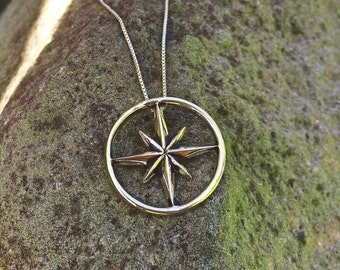 Compass Rose Amulet Pendant/ Sterling Silver Nautical Jewelry Ship Captain Sailor Maritime