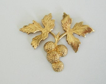 2-Berry Branch Raw Brass Stamping Ornament Embellishment Jewelry Findings.