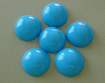 6-Vintage Style Opaque Doge Blue  Acrylic Round Cabochon 20mm.