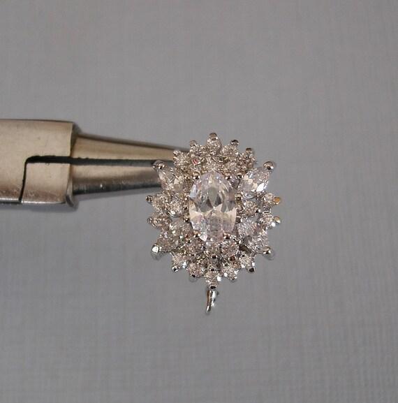 Oval Cubic Zirconia CZ Rhodium Plated Ear Stud Earrings Post Earstud Findings.