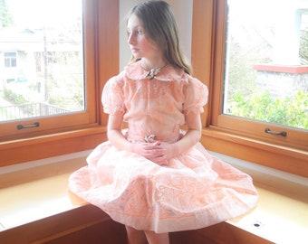 Vintage Girls Dress | 1950's Peach Chiffon Flocked Floral Girls Dress | 1950s Peach Girls Dress | Size 8 - 9