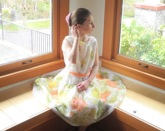 Vintage Girls Dress | 1960's Ivory Floral Chiffon Girls Dress | 1960s Ivory Girls Dress | Size 9 - 10